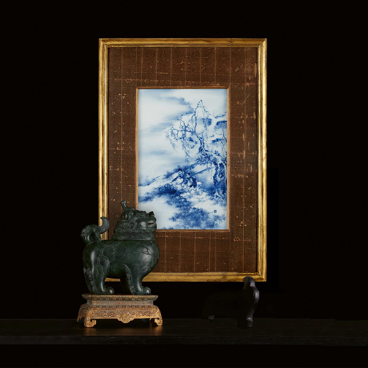 A Chinese blue and white porcelain plaque, attributed to Wang Bu and a Chinese carved spinach green jade Luduan censer