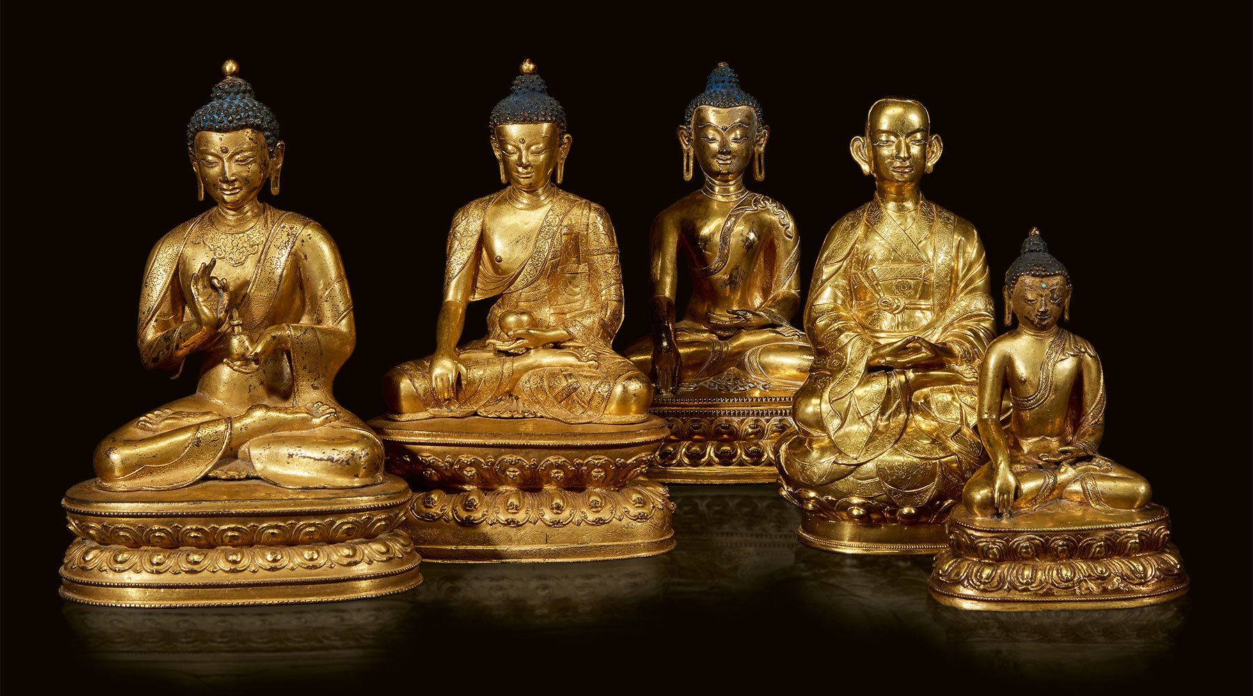 A group of gilt buddhas from The Collection of Ambassador and Mrs. Alexander Weddell - The Virginia House Museum