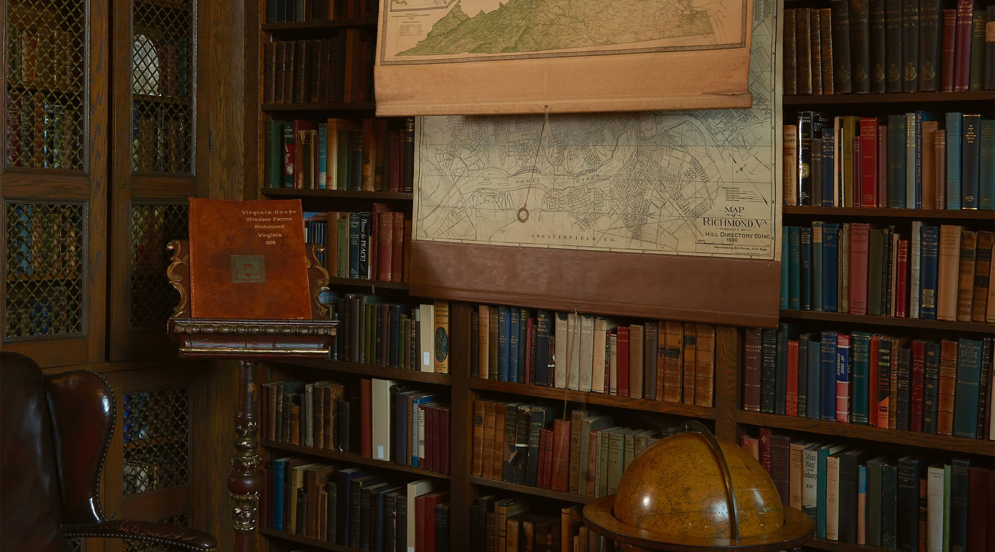 The library at The Virginia House Museum