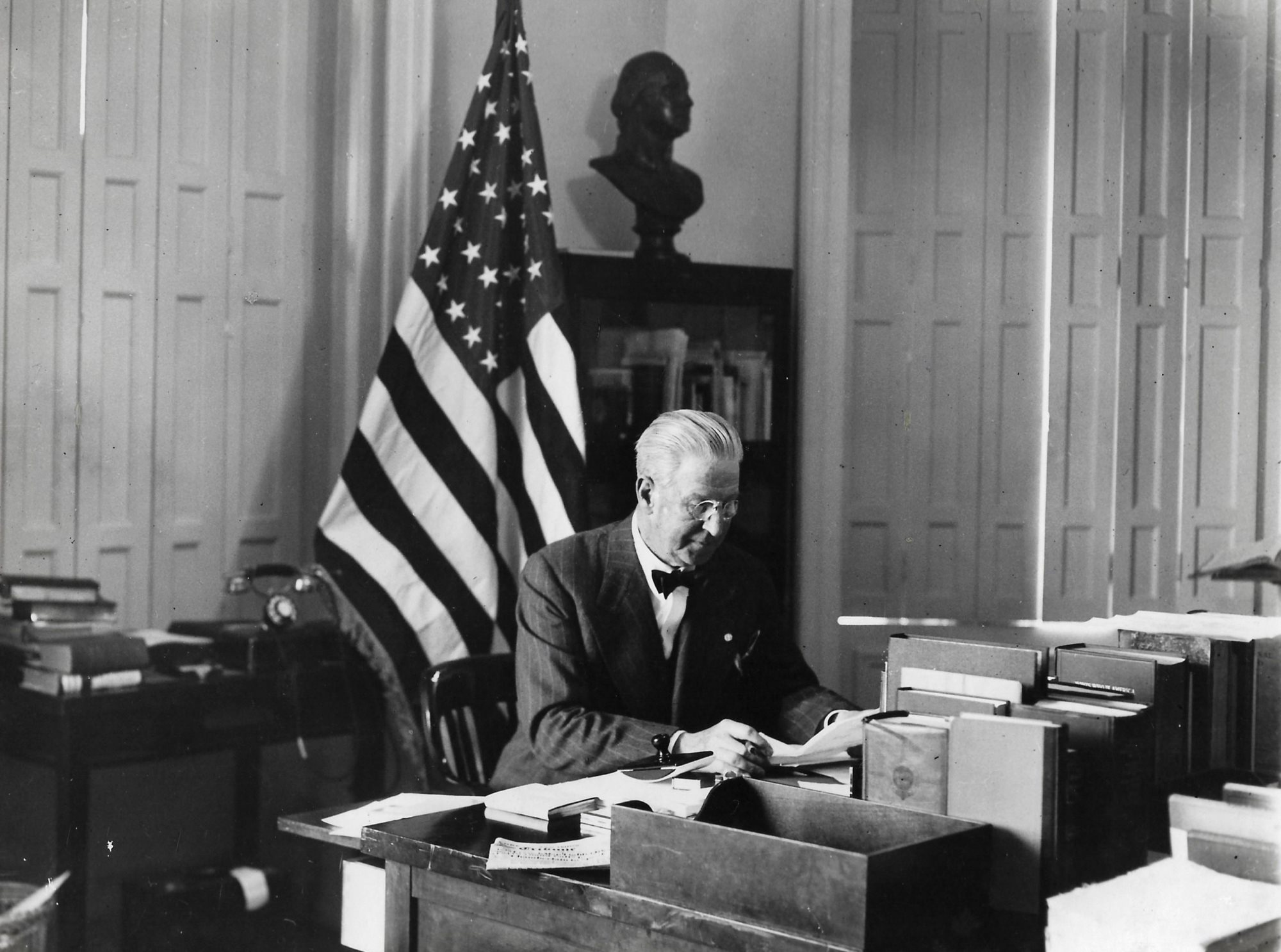 Ambassador Alexander Weddell at his desk in Madrid. Archival Photograph from the Personal Collection of Alexander and Virginia Weddell, courtesy of the Virginia House Museum.