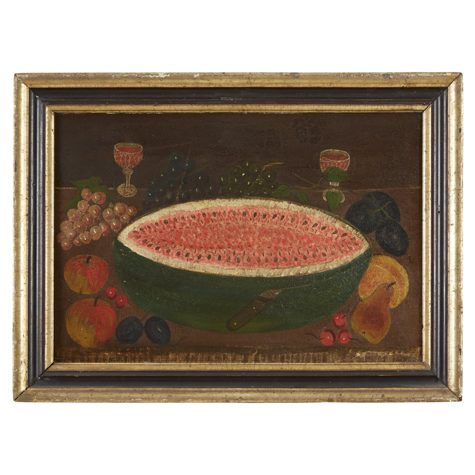 Lot 215: American School 19th century, Still Life with Watermelon, Dated 1887, Oil on canvas, $2,000-3,000, to be offered at Freeman's on 04/30/19