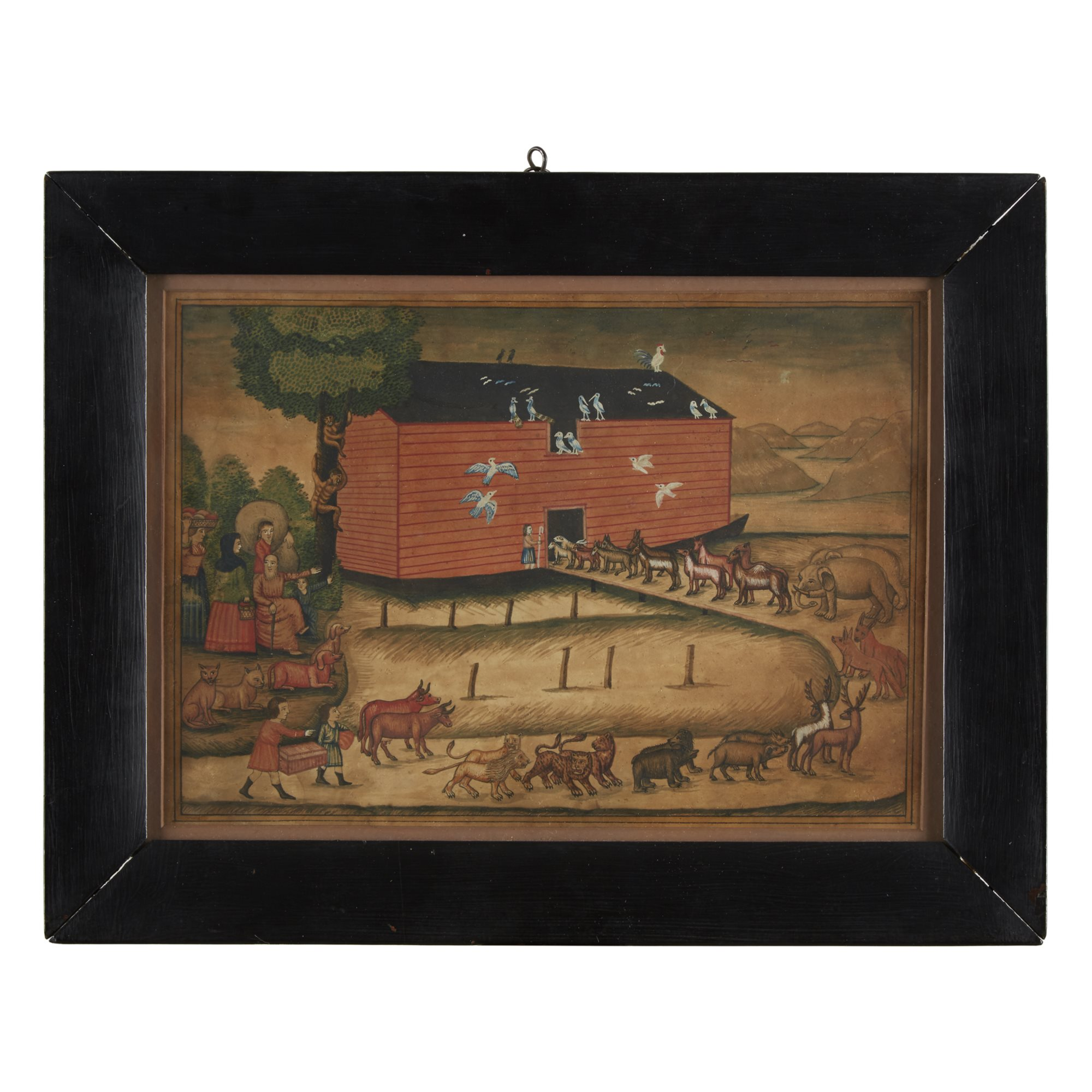 Lot 238: Attributed to John Landis (1805-c.1851), Noah's Ark, Possibly Lancaster, PA, Watercolor and ink on paper, $5,000-10,000, to be offered at Freeman's on 04/30/19
