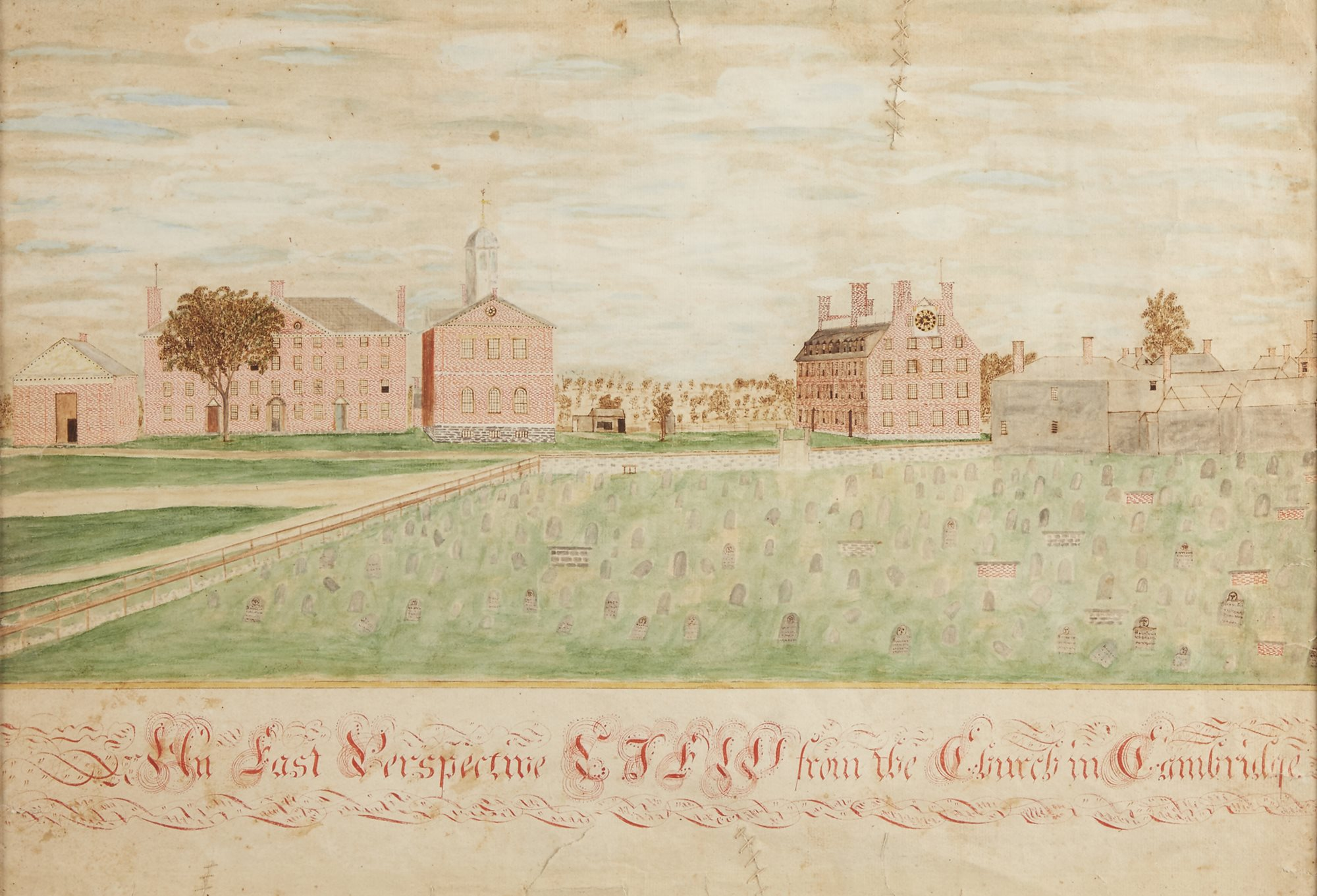 Lot 34: The earliest known hand-drawn view of Harvard College,