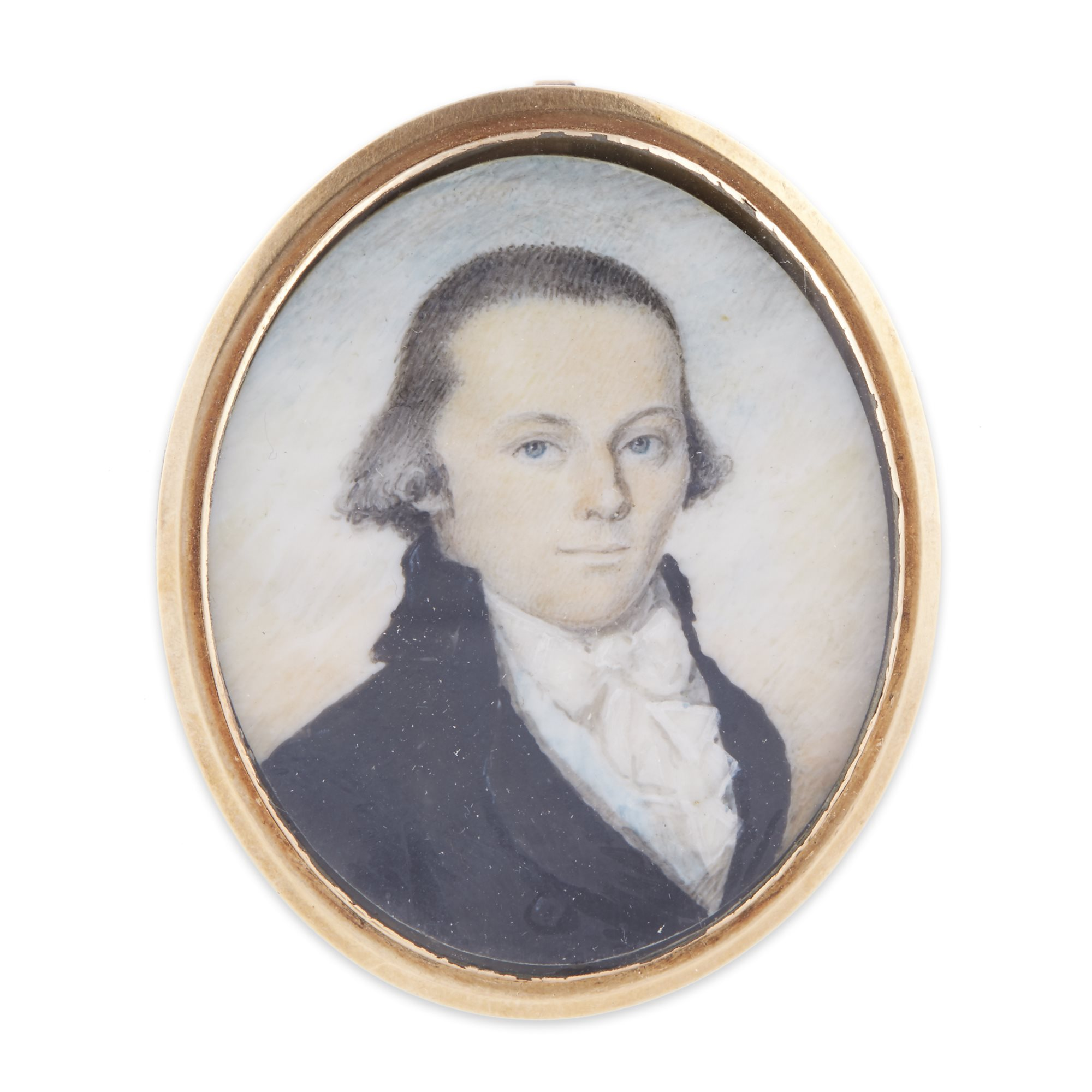 Portrait miniature of Samuel Griffin (1762-1812), attributed to William Lovett (1773-1801), Bostonm MA, circa 1785, to be included in Lot 34 with the watercolor of Harvard College on 04.30.19