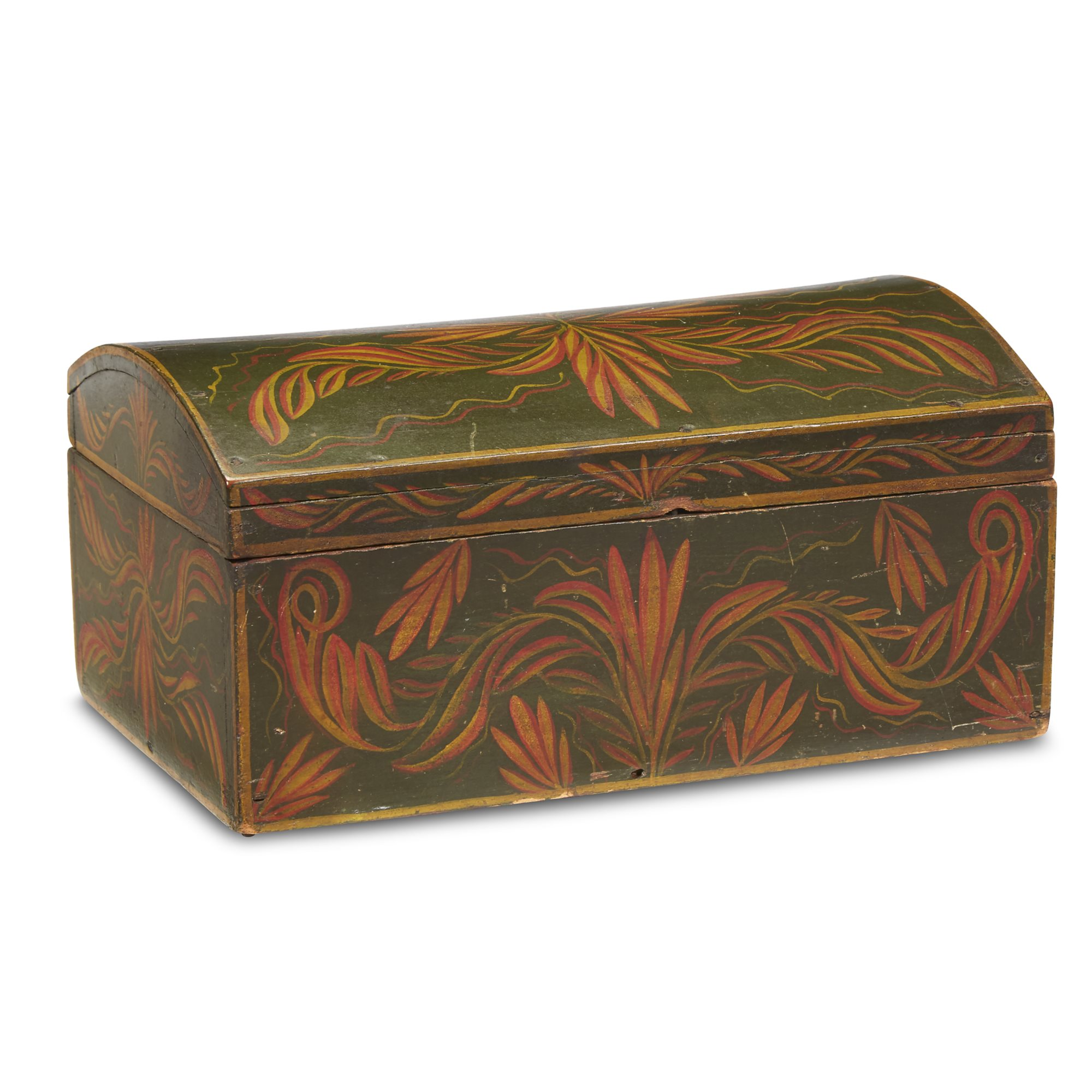 Lot 216: Painted and decorated tulip poplar dome-top box, first half 19th century, $3,000-5,000, to be offered at Freeman's on 04/30/19