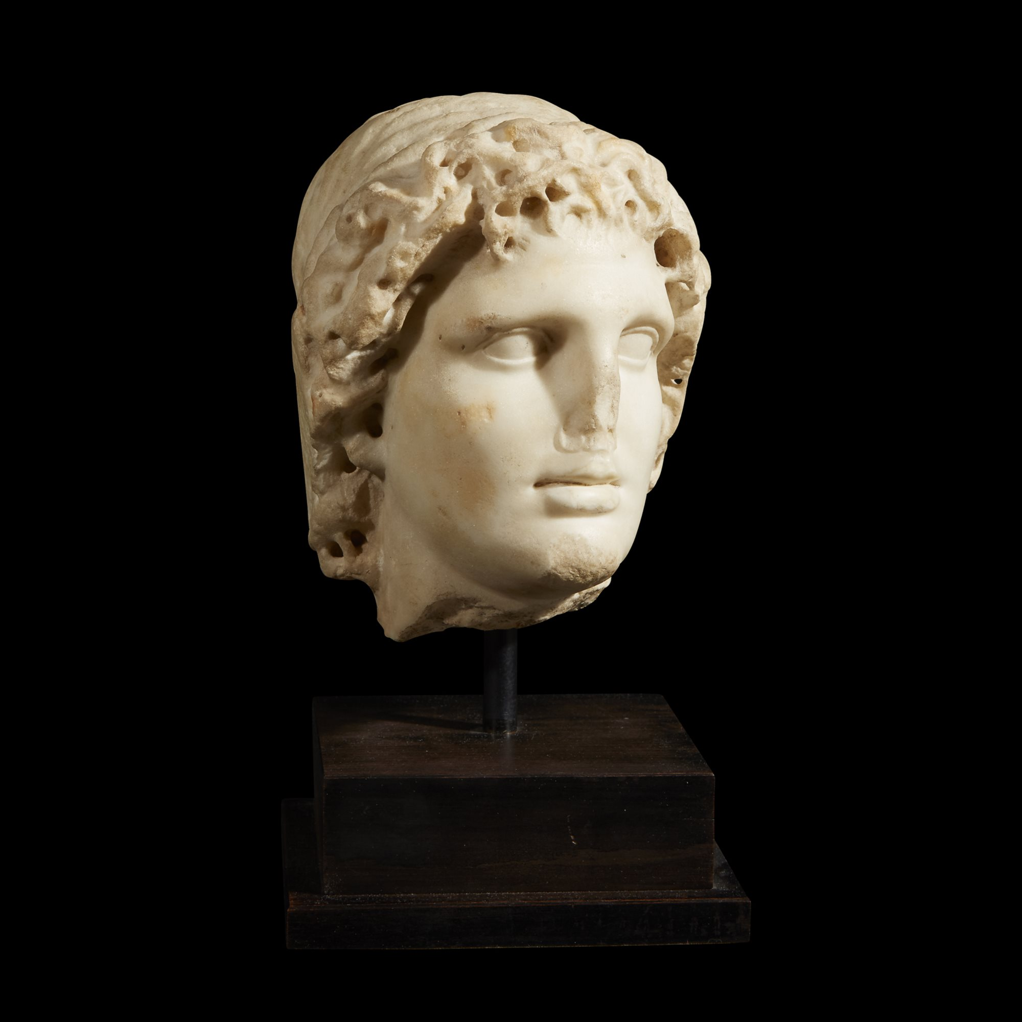 Roman Head of Alexander the Great as Helios, c. 2nd Century AD, Sold for $62,500