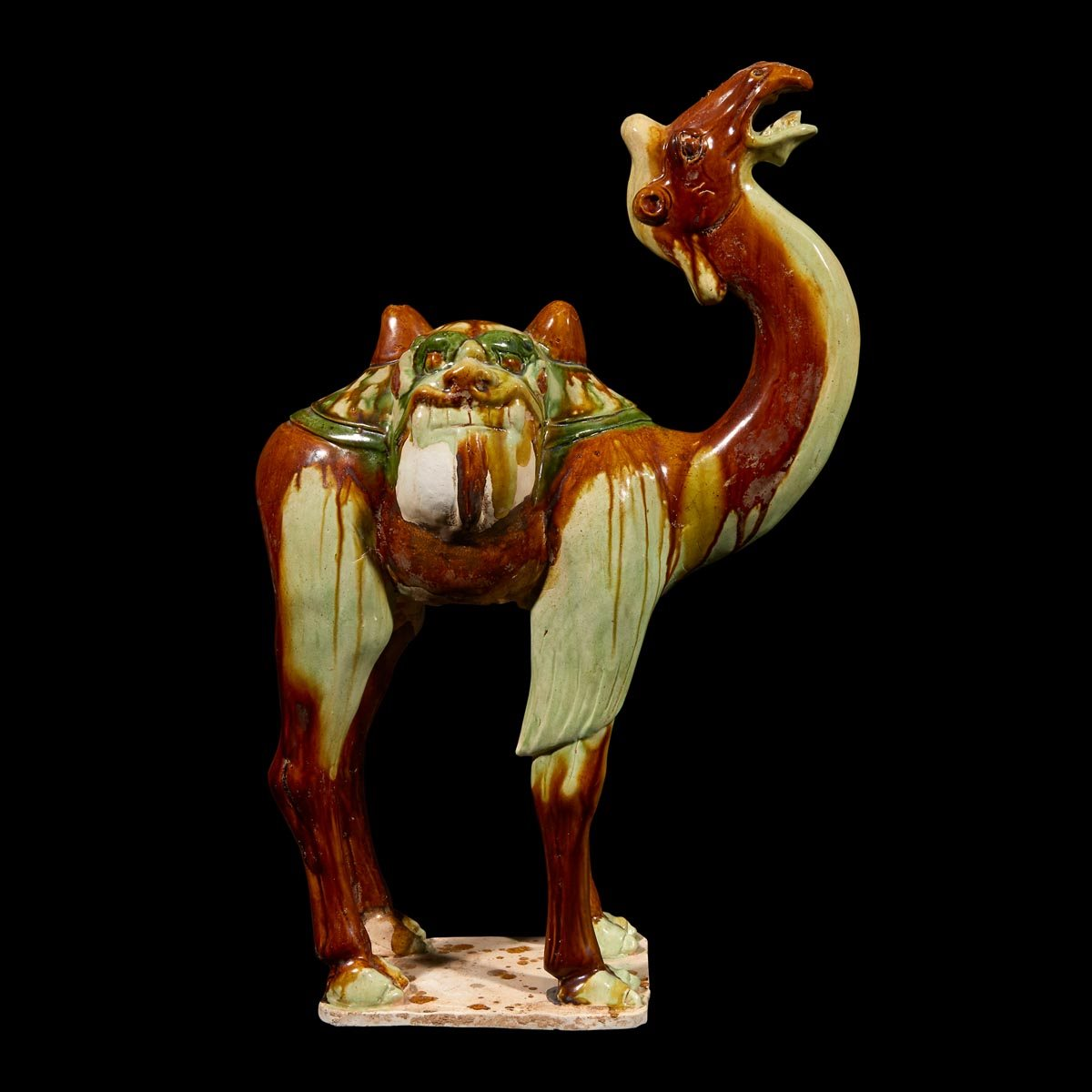 Lot 23: A Chinese sancai-glazed pottery model of a camel, Tang dynasty, $7,000-9,000, to be offered at Freeman's on March 12, 2019.