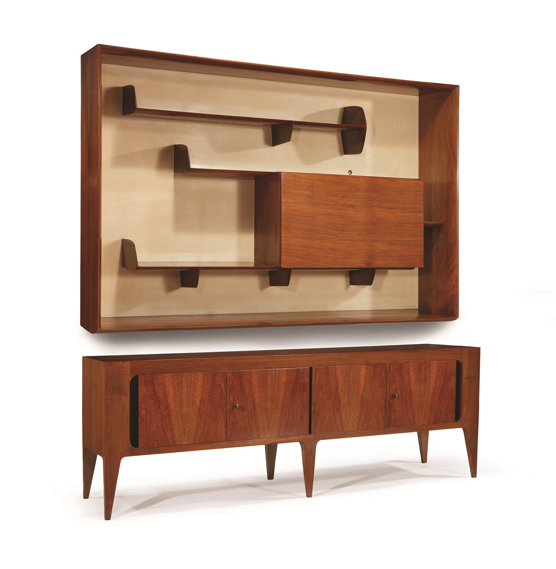 Gio Ponti (Italian, 1891-1979)  A Wall-Mounted Bookcase and Sideboard Cabinet, Singer & Sons, Italy, circa 1951,  $20,000-30,000