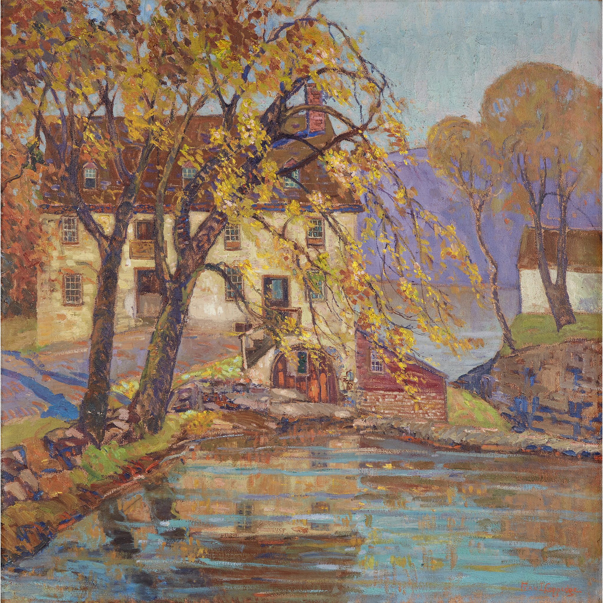 Fern Isabel Coppedge (American, 1883–1951), The Old Grist Mill, Bucks County, Signed, oil on canvas, 30 x 30 ¼ in., $50,000-80,000, to be offered at Freeman's on 06.09.2019