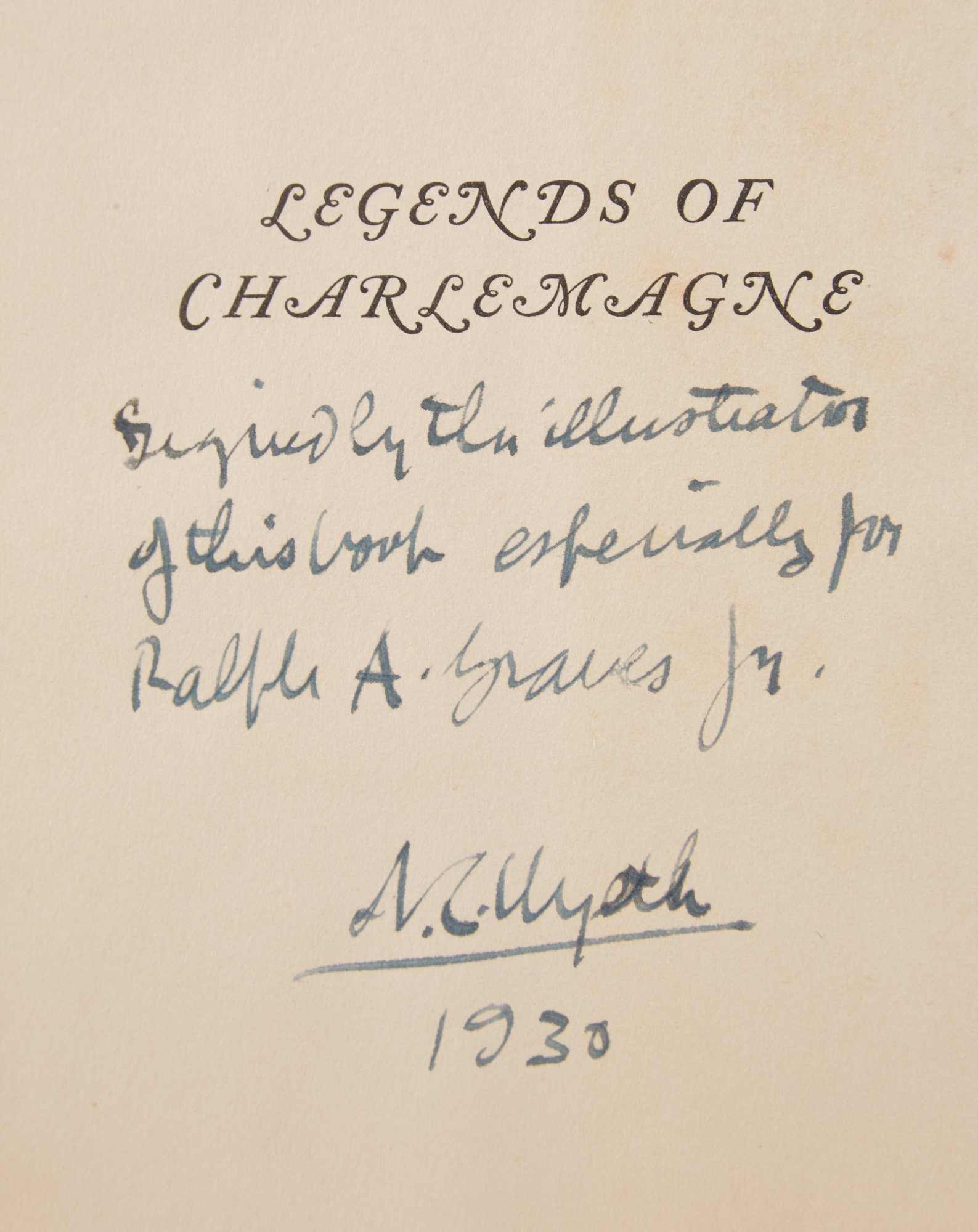 Wyeth's dedication in a first edition copy of the