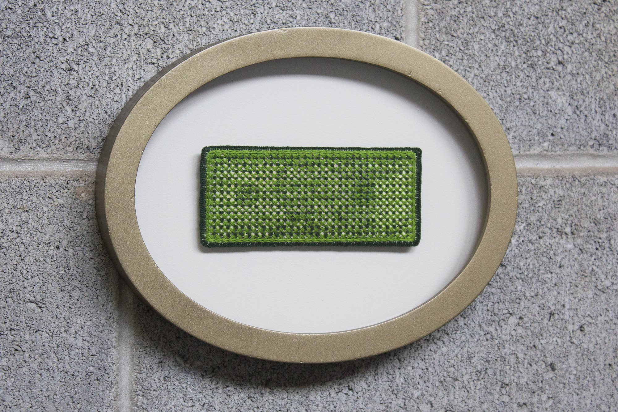 Stacey Lee Webber. Embroidered Bills: Green French Knots, 2018. Five dollar bill, thread, canvas, custom wood frame. 9 x 7 x 2 in.