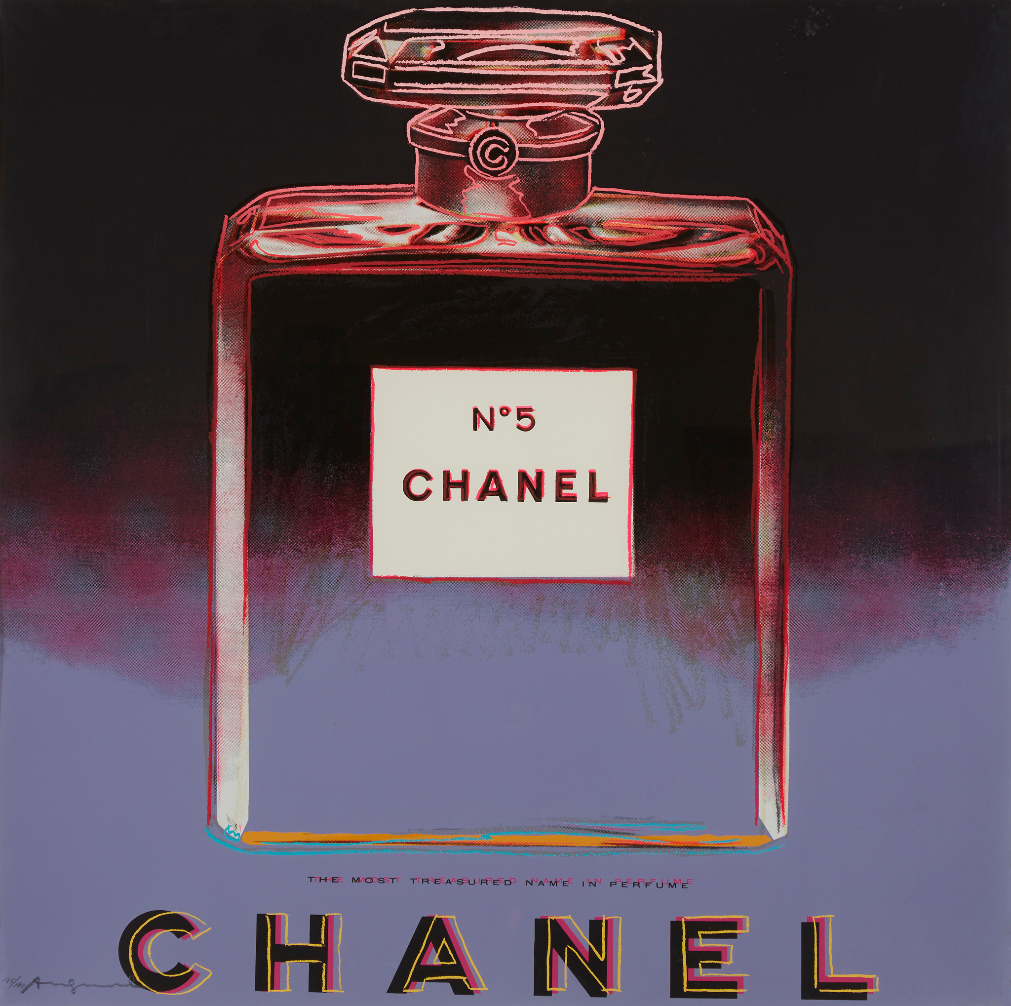 Andy Warhol, Chanel from Ads, 1985, Color screenprint, $120,000-$180,000 © 2020 The Andy Warhol Foundation for the Visual Arts, Inc.  / Licensed by Artists Rights Society (ARS), New York Courtesy Ronald Feldman Gallery, New York