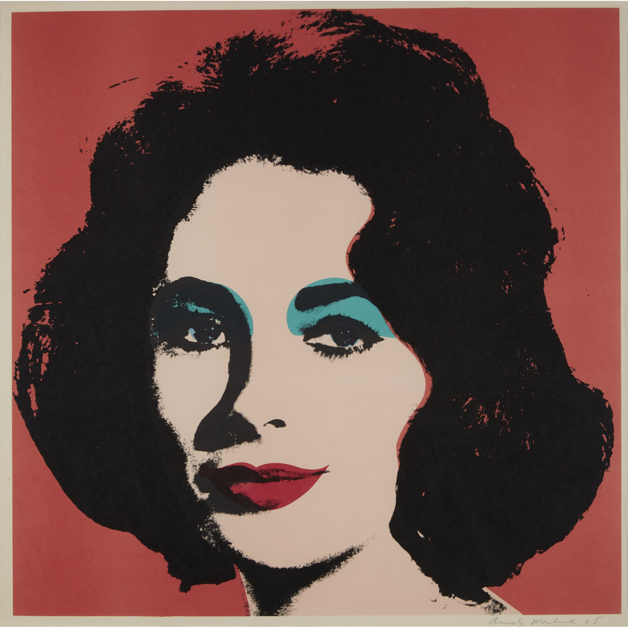 Andy Warhol (1928-1987)   Liz, 1964 color offset lithograph,  21 15/16 x 21 15/16 in. $20,000-30,000, ©2019 The Andy Warhol Foundation for the Visual Arts, Inc. | Licensed by Artists Rights Society (ARS), New York