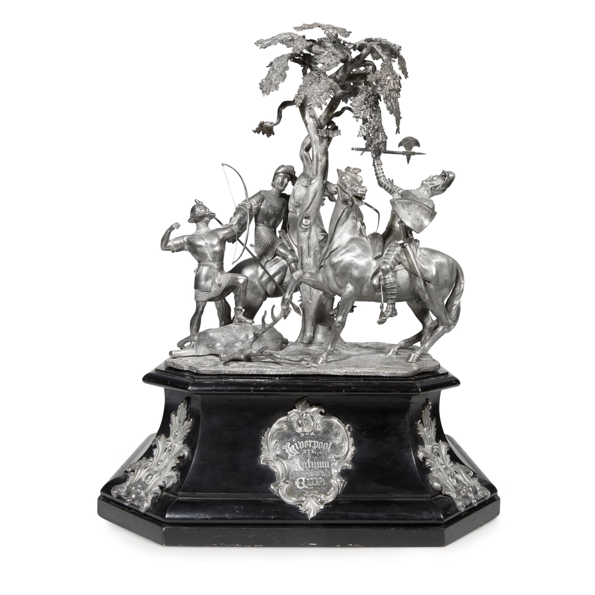 Lot 39  |  Victorian sterling silver figural equestrian trophy, 'Liverpool Autumn Cup', Charles Reily & George Storer, London, 1847, $15,000-25,000