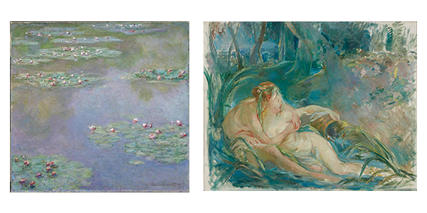 (left) Claude Monet (French, 1840-1926), Water Lilies, 1907. Oil on canvas, 38 1/8 x 38 3/4 in. Museum of Fine Arts, Boston, Bequest of Alexander Cochrane, 19.170.