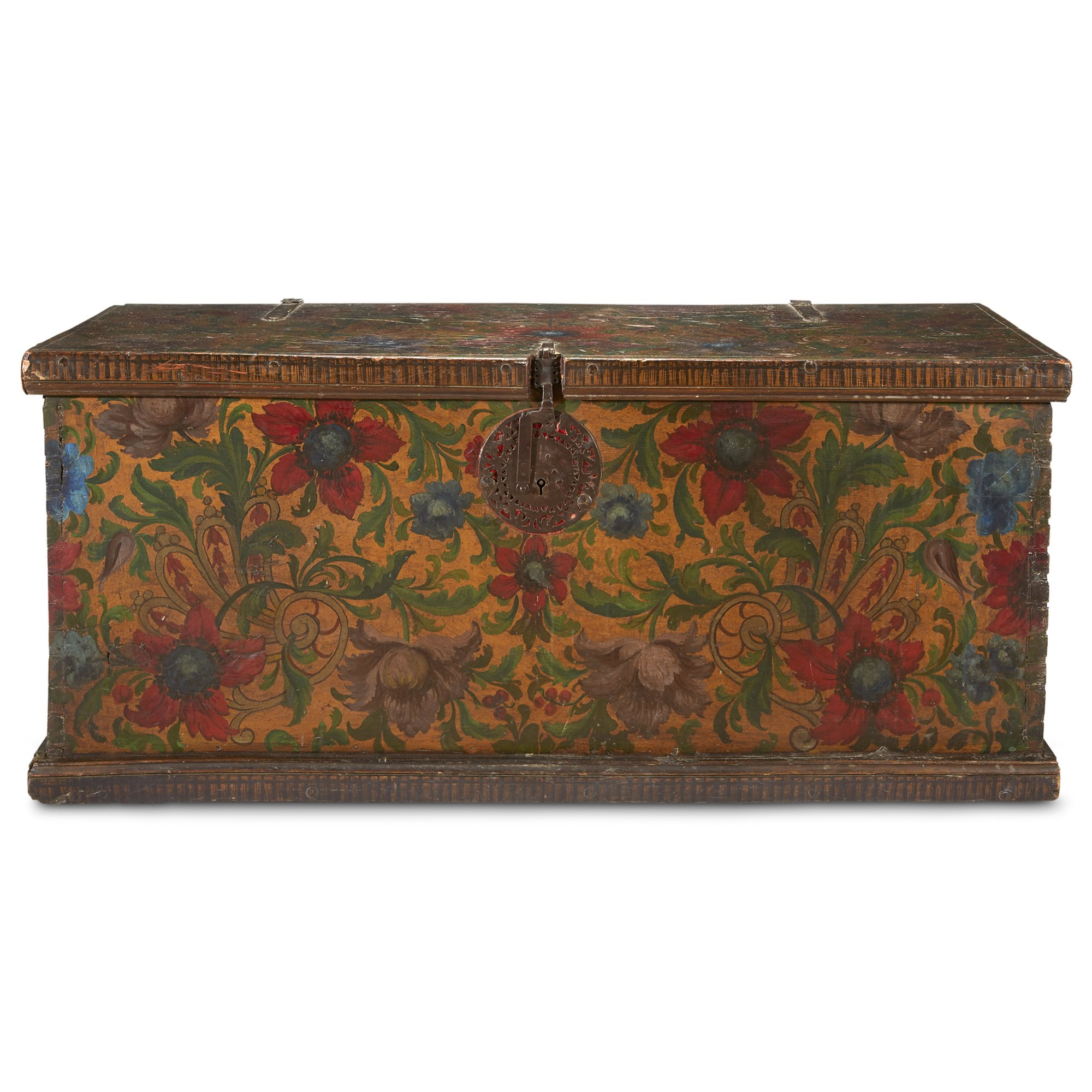 Lot 223: A Spanish Colonial Iron-Mounted Gilt and Polychrome Painted Blanket Chest, Possibly Peruvian, 18th century, $2,500-3,500, to be offered at Freeman's 04/10/19