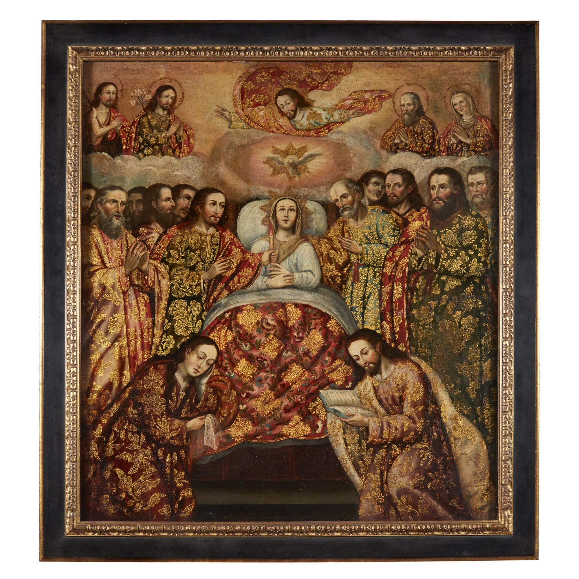 Lot 260: Cuzco School (17th Century), The Death of the Virgin, Oil on Canvas, $12,000-18,000, to be offered at Freeman's 04/10/19