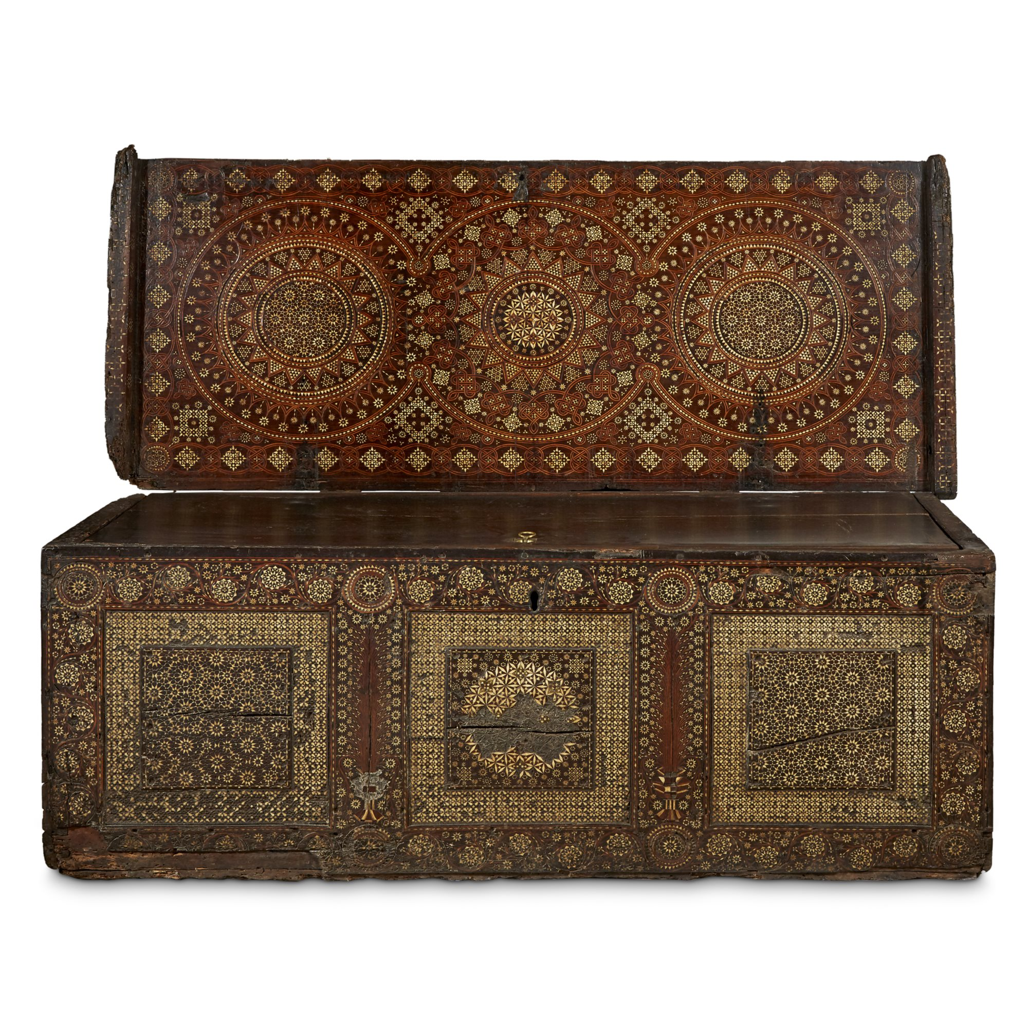 Lot 49: A Nasrid-style early marquetry and ivory inlaid cassone, Venice or Barcelona, late 15th century, skyrocketed past its pre-sale estimate of $6,000-8,000 to sell for $59,375