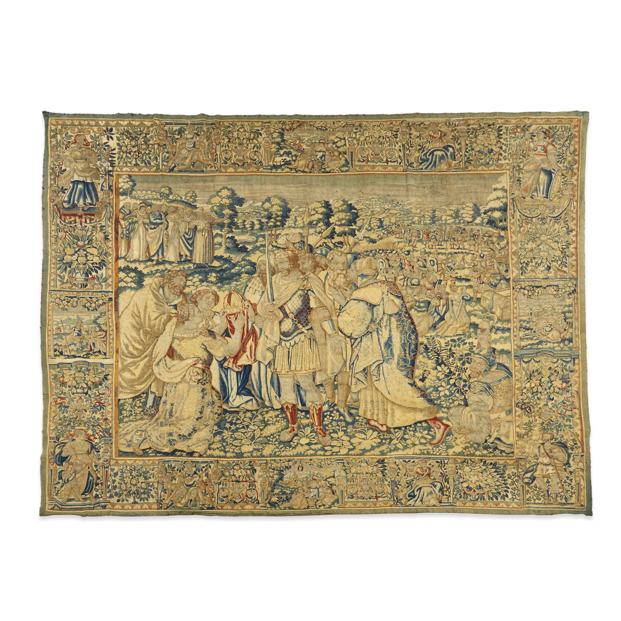 Lot 79: A Flemish mythological or historical tapestry, mid to late 16th century – will be returning to its former neighborhood of Windsor Farms in Richmond, Virginia, having been acquired by Agecroft Hall and Gardens