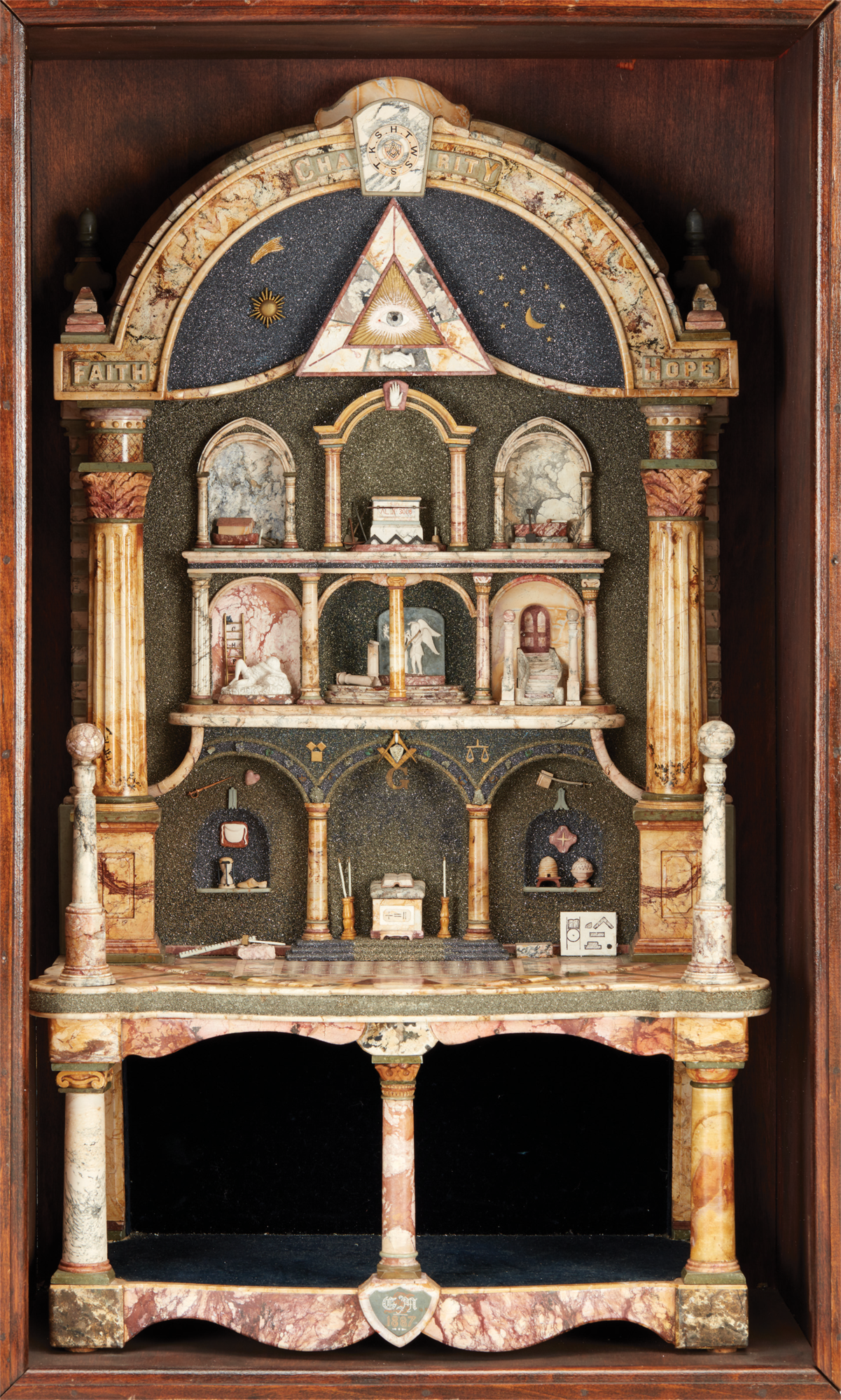 Shadowbox with Masonic Architectural Model Made by George M. Silsbee (1840-1900),  c. 1880, mixed media