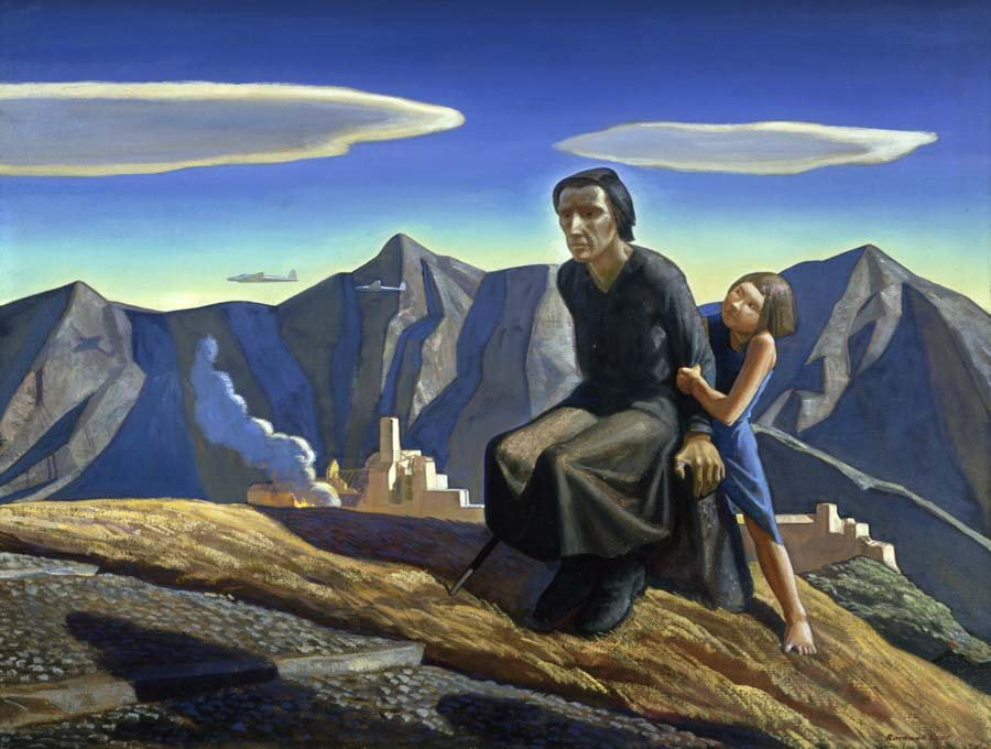 Rockwell Kent, Bomb's Away, 1942, oil on canvas, 34 x 44 in, Columbus Museum of Art