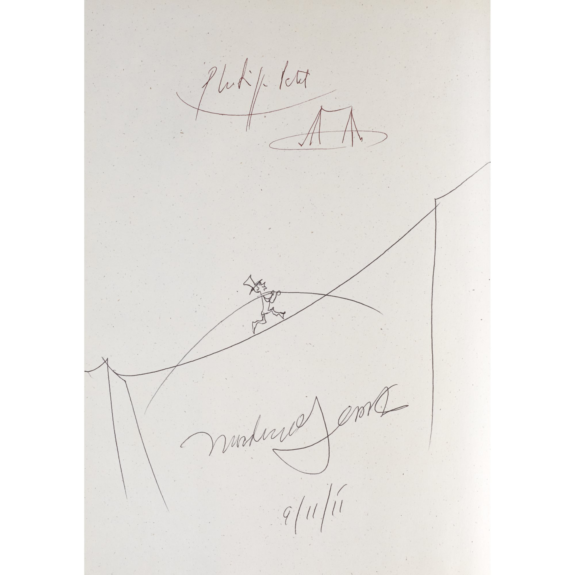 The Man Who Walked Between the Towers Brookfield, Connecticut: Roaring Brook Press, (2003). First edition, illustrated by the author. Signed and doodled by Gerstein and by Philippe Petit, the subject of the book. Winner of the 2004 Caldecott Medal.