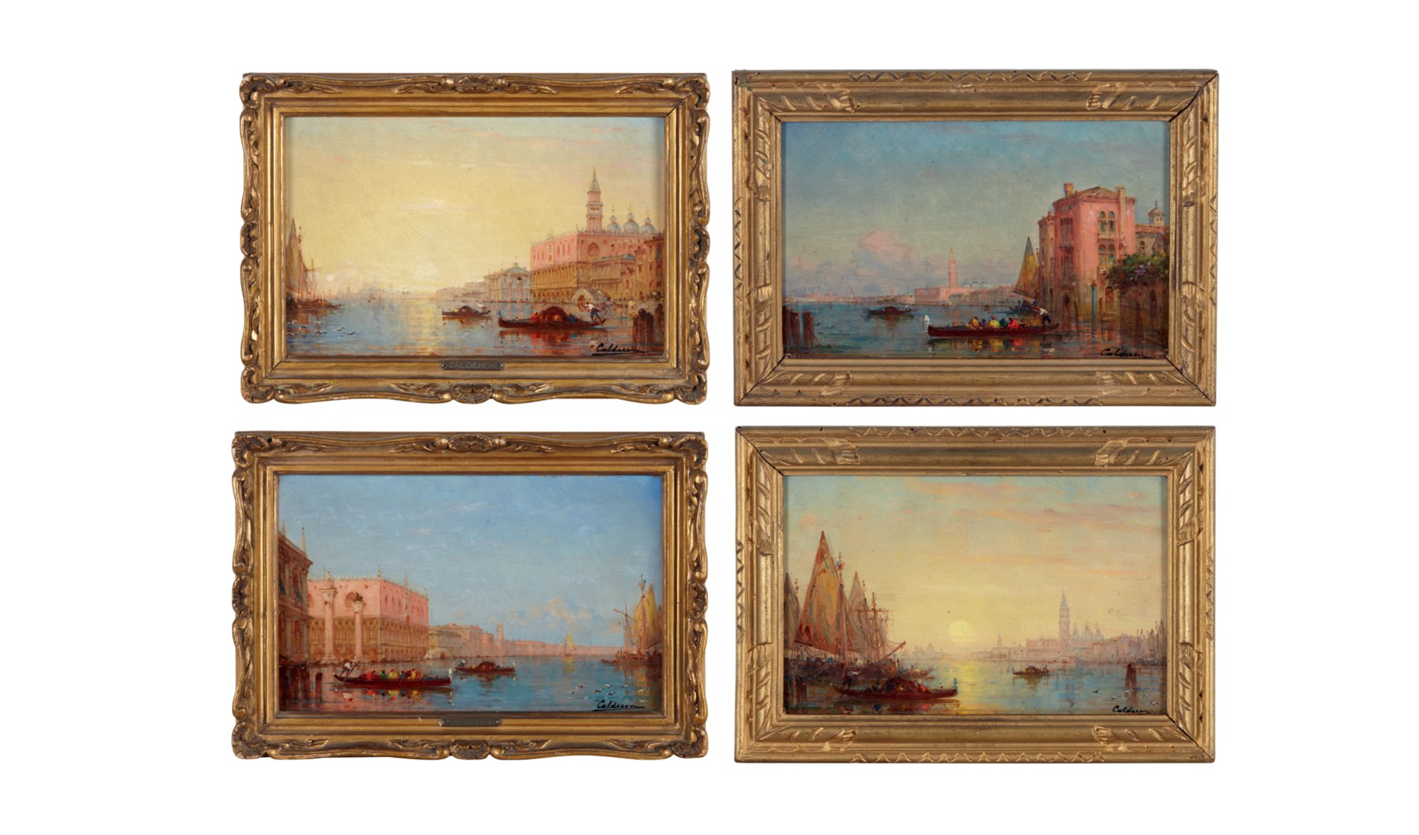 Charles Calderon (French 1870–1906)  Le Bassin de Saint-Marc au Couchant; with three other scenes, All signed 'Calderon' bottom right; also with artist's wax seal on the back of three of the works, oils on panel  Each: 5 1/2 x 8 3/4 in. $8,000-12,000
