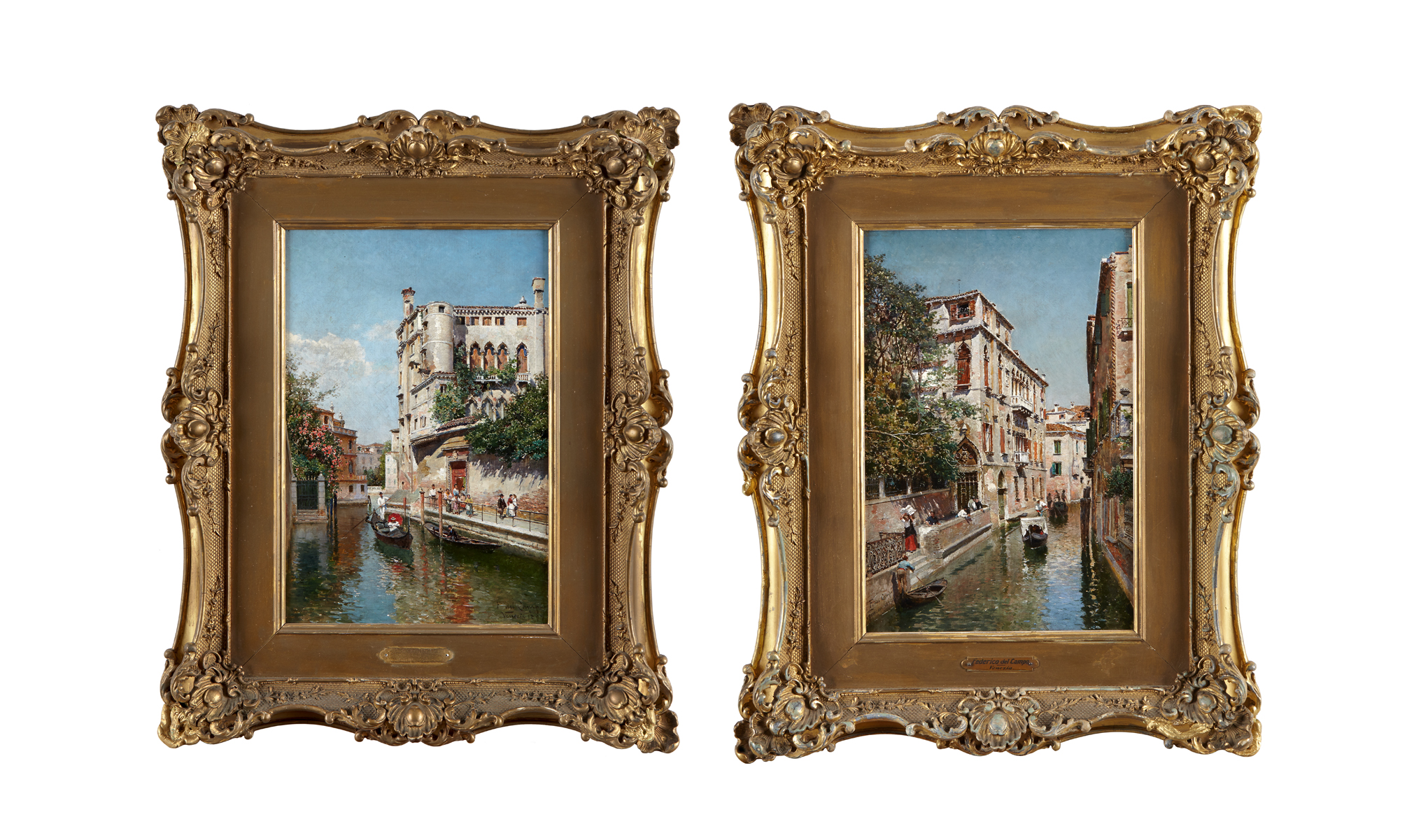 Federico Del Campo  (Peruvian 1837–1927), Venetian Canals; A pair, Both signed, located and dated 'F. del Campo/Venezia/1899' (one bottom right, the other bottom left), pair oils on canvas  Each: 13 7/8 x 9 1/4 in. (35.2 x 23.5cm), $30,000-50,000
