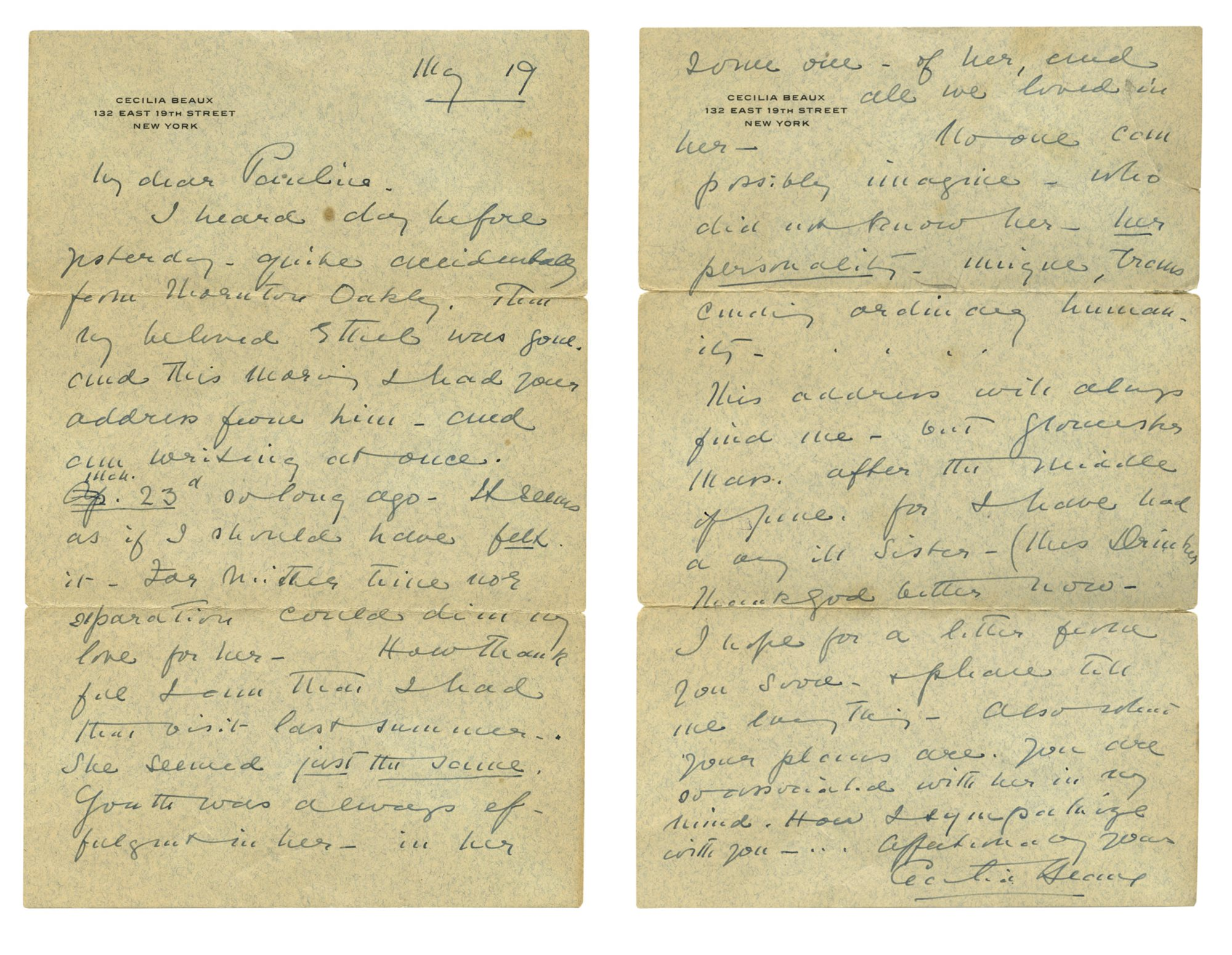 Letter from Cecilia Beaux to Pauline Bowie, dated May 19, 1934  |  To be offered with the painting