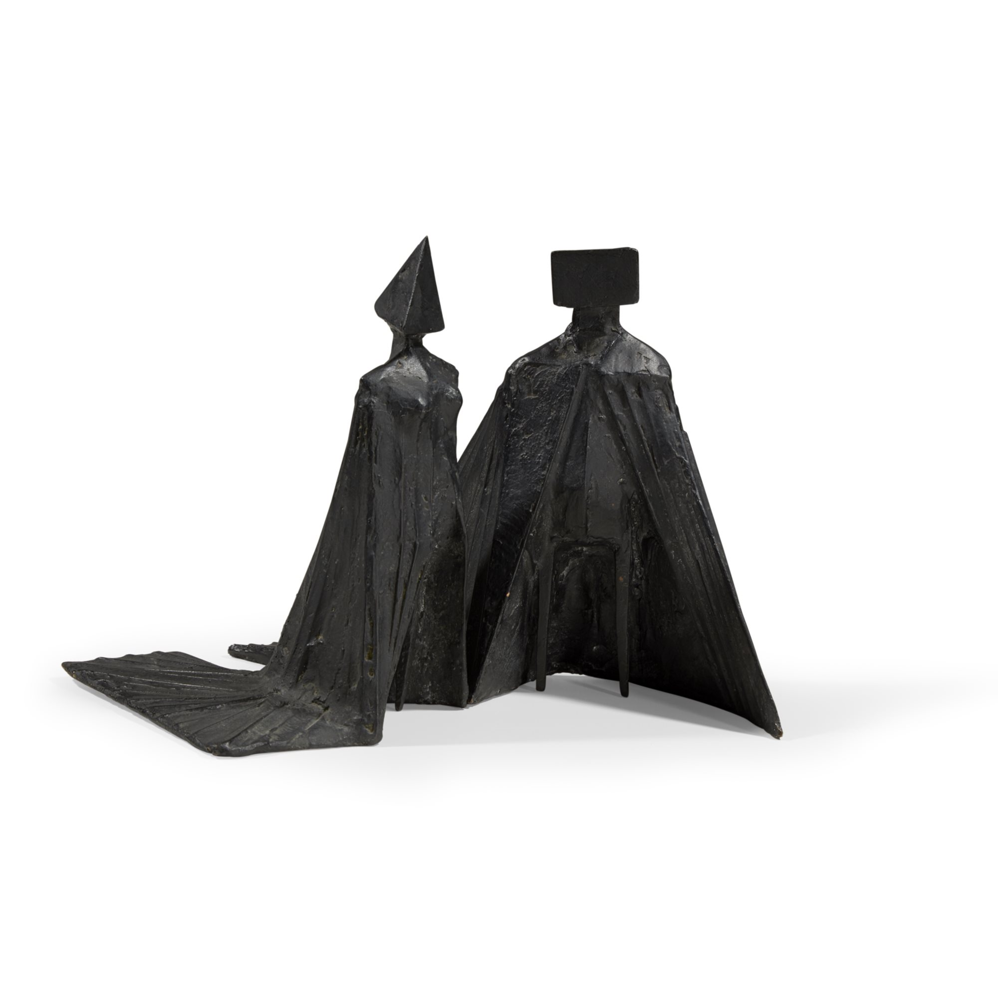 Lot 25 | Lynn Chadwick, Pair of Cloaked Figures, bronze with black patina in two parts, $20,000-30,000