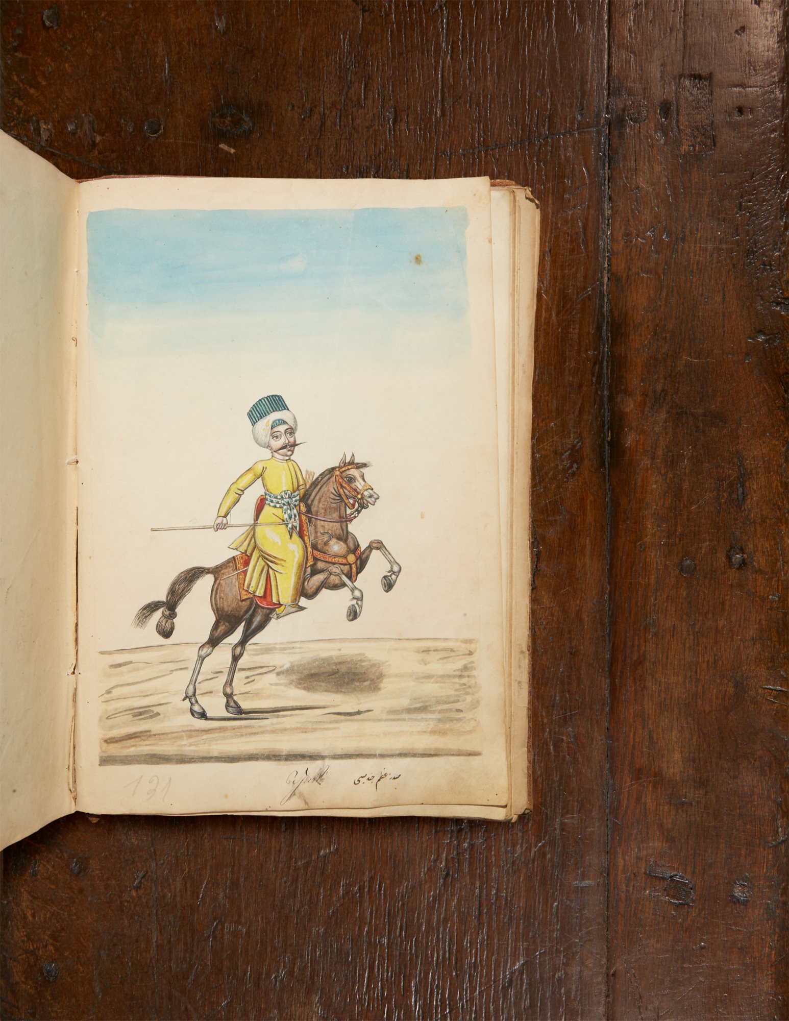 Lot 406: A book of various types of Ottoman dress, containing 148 original watercolors by a follower of the artist Fenerci Mehmed, sold to a prominent private collector in the room for $ 137,500