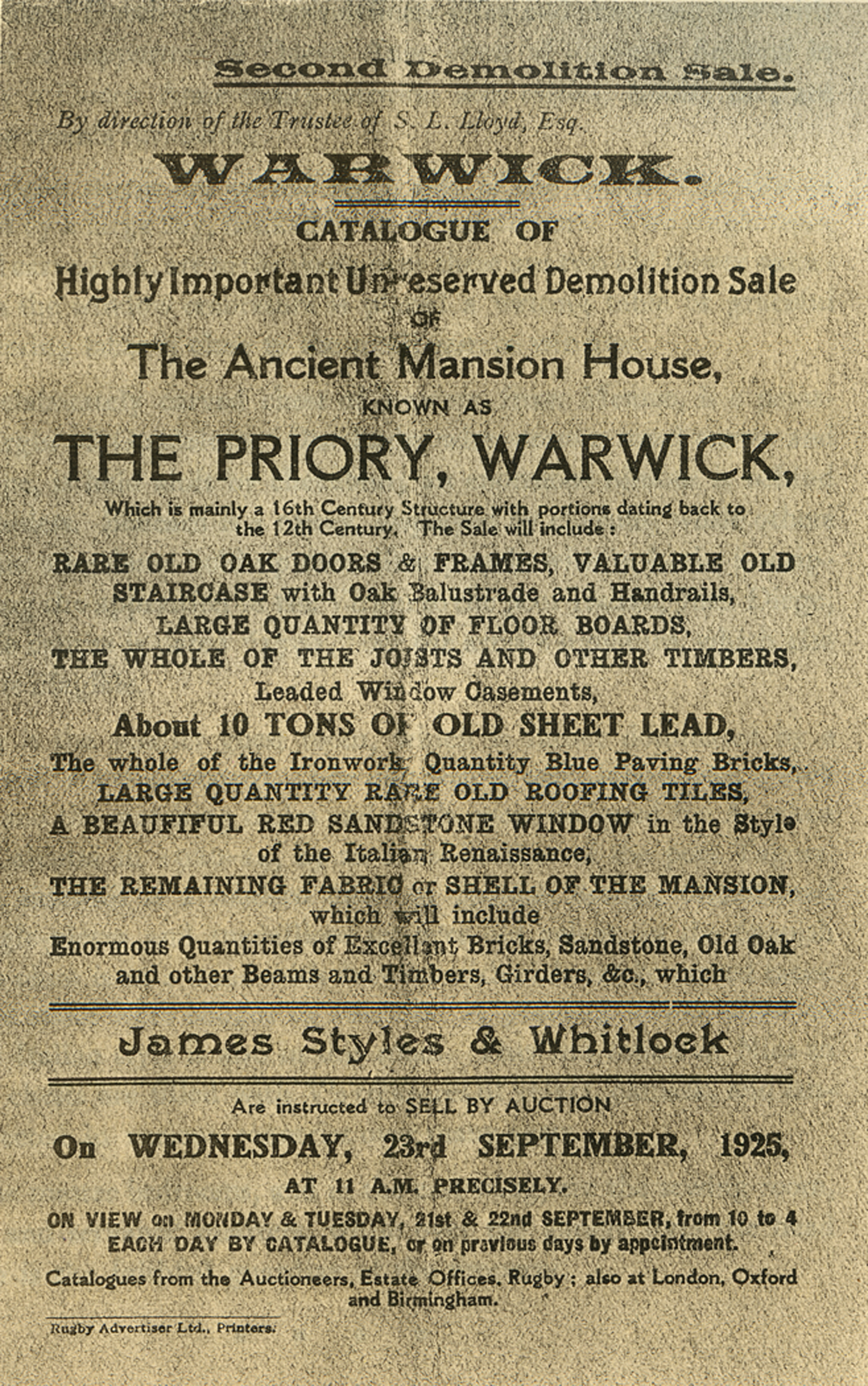 Second Demolition Sale Poster for the Warwick Priory (Before Becoming Virginia House), 1925, as depicted in Alexander Weddell's
