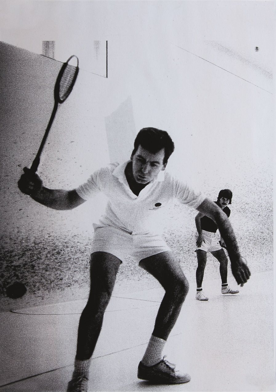 Victor Niederhoffer playing squash as depicted on plaque commemorating his induction into the United States Squash Hall of Fame