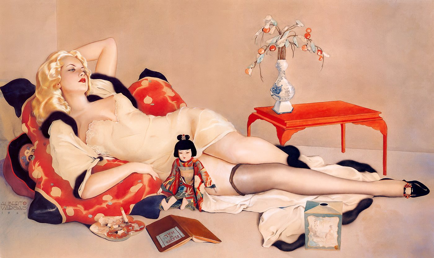 Fleurs du Mal, 1920 by Peruvian painter Alberto Vargas (1896-1982). Three similar watercolors by the same artist were damaged at an art storage facility during Hurricane Sandy