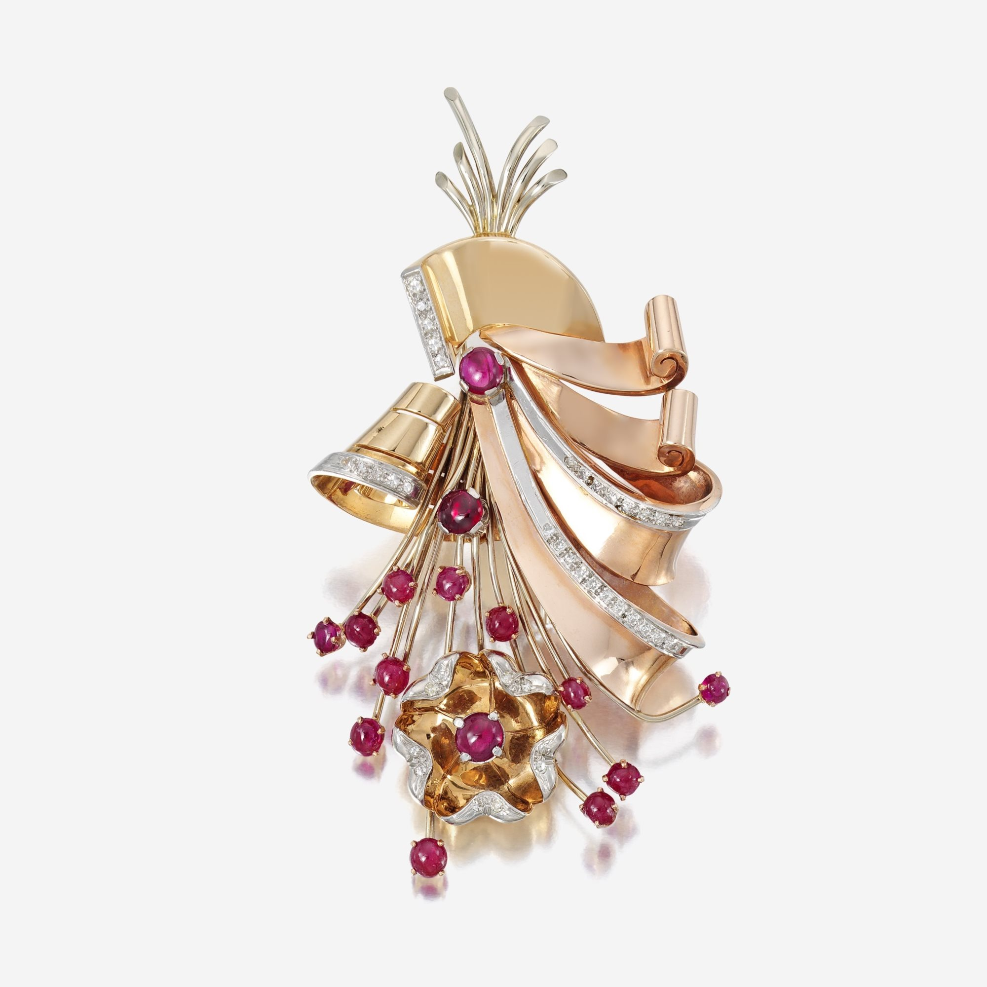 A Retro fourteen karat bicolor gold, ruby, and diamond brooch