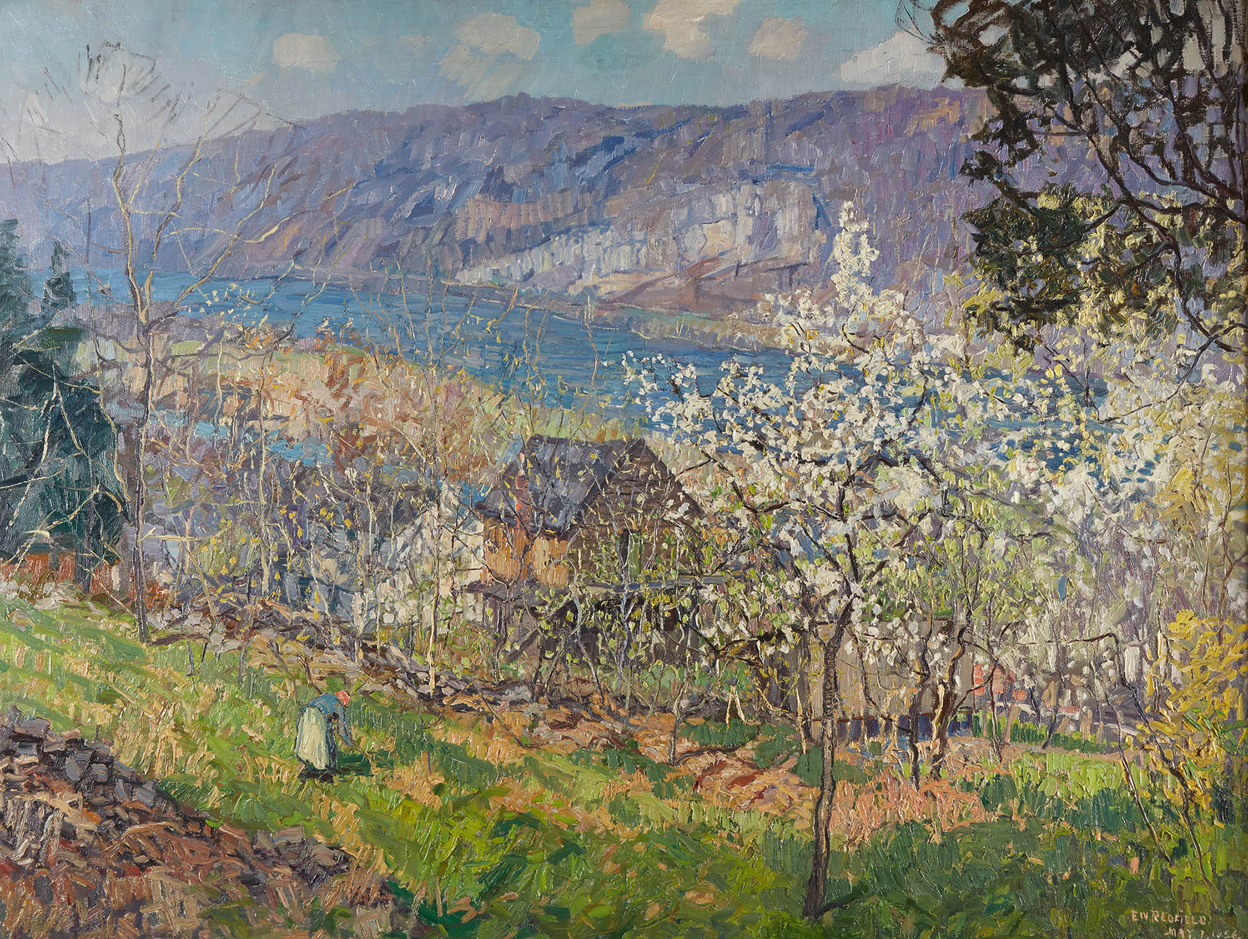 Lot 40 | Edward Willis Redfield (American, 1869–1965), Spring at Point Pleasant on the Delaware River, oil on canvas-SOLD FOR $483,000