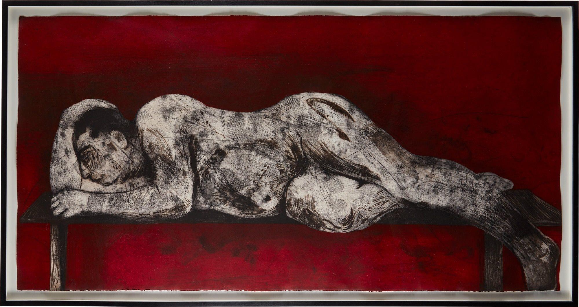 William Kentridge etching, sleeper red
