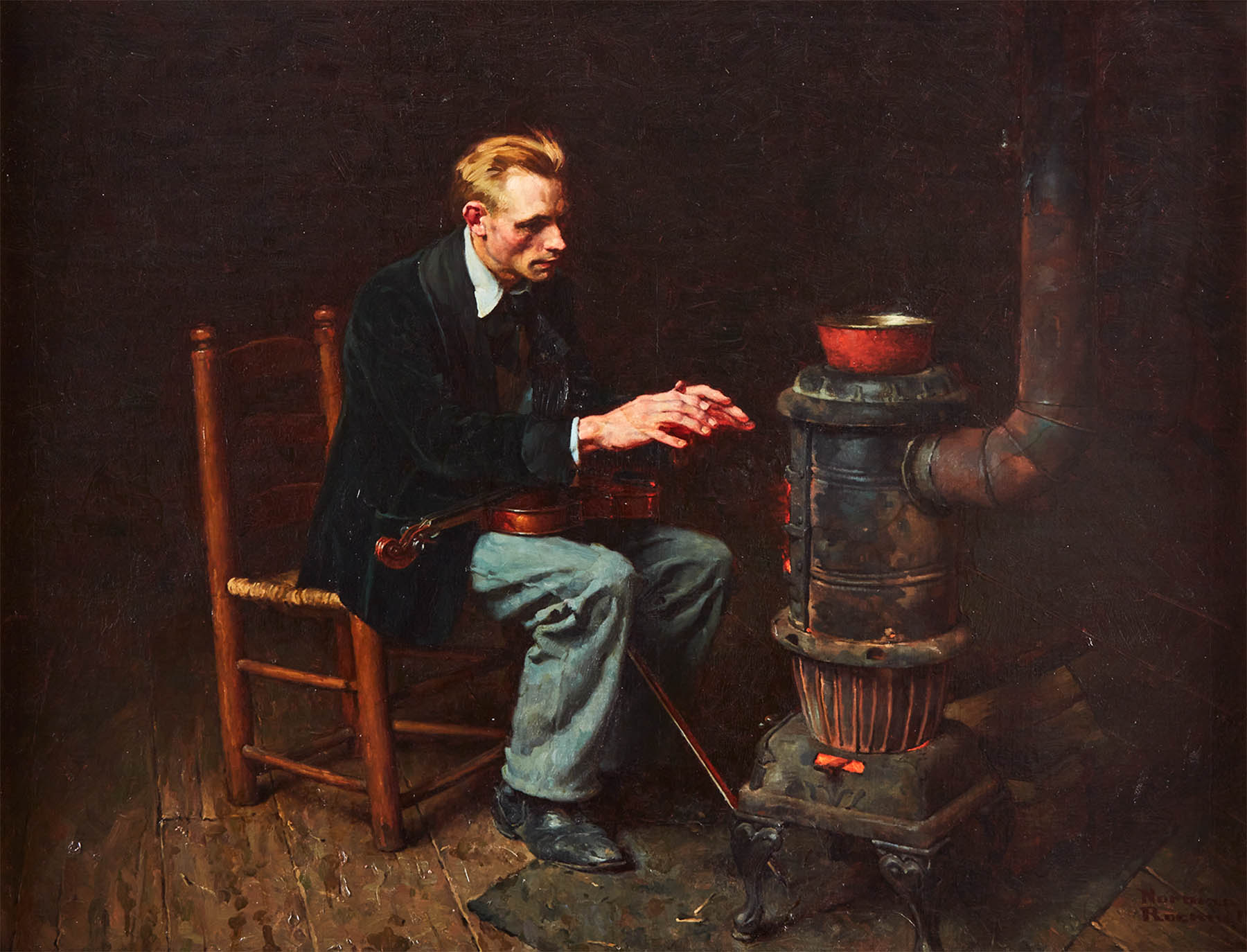 Norman Rockwell Painting, The Melody Stilled by Cold