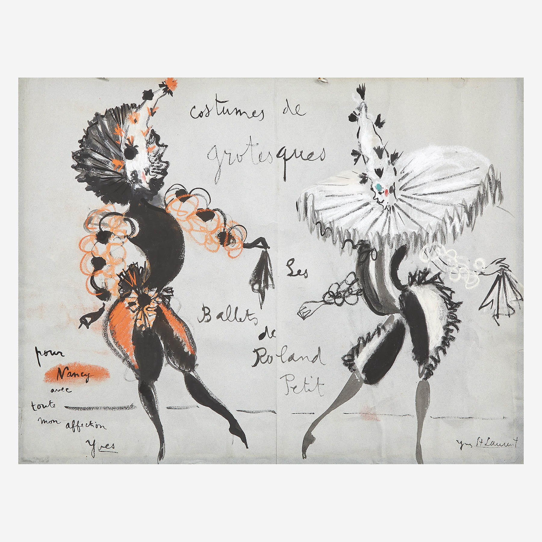 Yves Saint Laurent (French, 1936-2008) Costumes de Grotesques Les Ballets de Roland Petit [with additional fashion drawing verso]