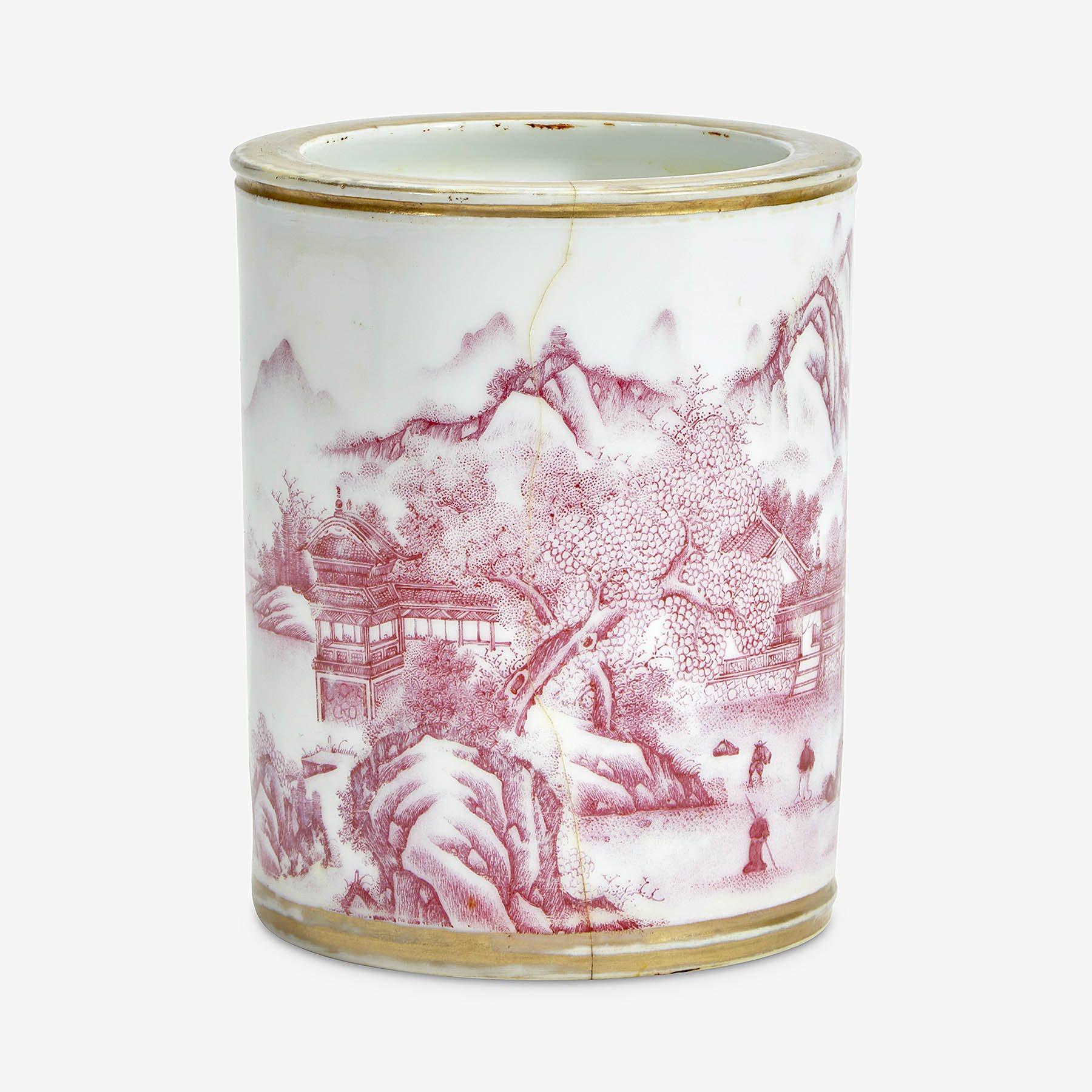 Chinese puce-enameled porcelain cylindrical brush pot
