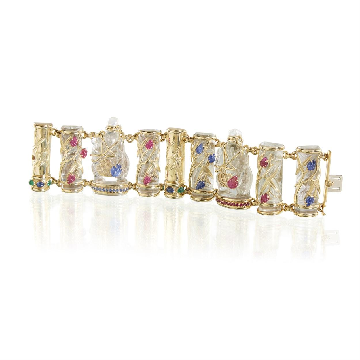 Lot 143 - A rock crystal and eighteen karat gold Chessman bracelet, Seaman Schepps