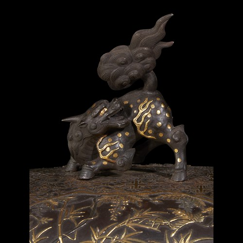 Lot 116 - An impressive Japanese parcel gilt and mixed metal patinated bronze koro and cover