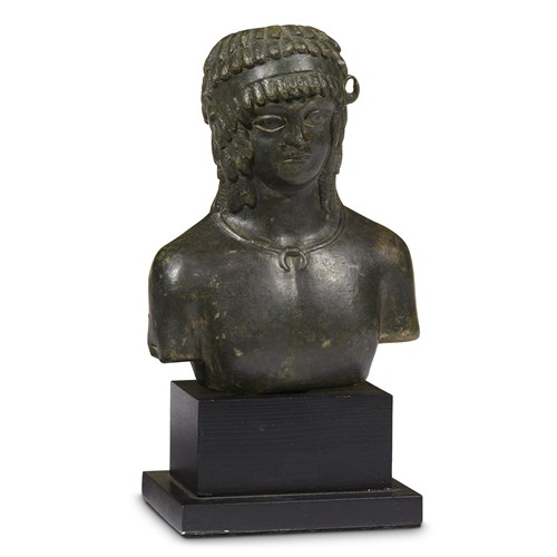 Lot 24 - ROMAN BALSAMARIUM IN THE FORM OF A BUST OF ANTINOUS