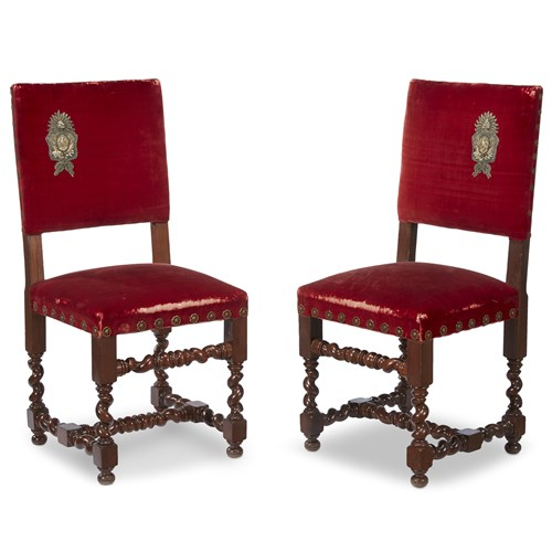 Lot 15 - A PAIR OF JACOBEAN STYLE TURNED MAHOGANY HALL CHAIRS