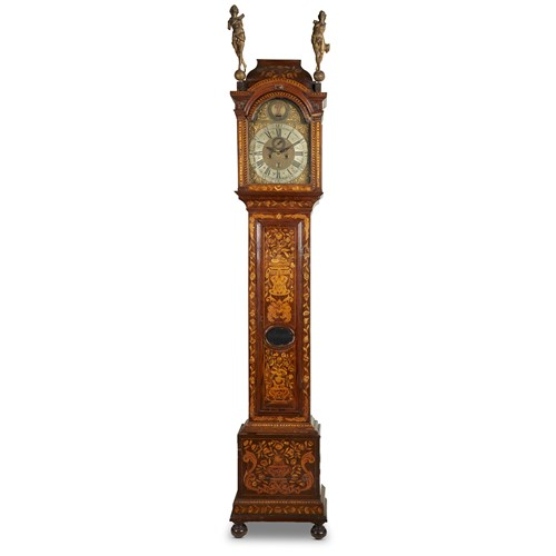 Lot 53 - A QUEEN ANNE FLORAL MARQUETRY MAHOGANY TALL CASE CLOCK