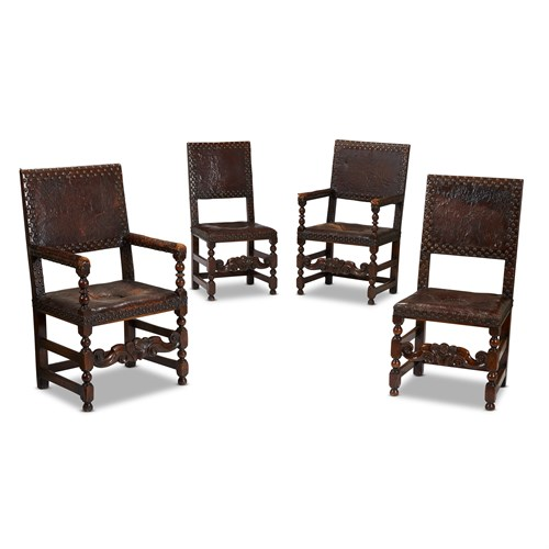 Lot 34 - A SET OF FOUR CHARLES II WALNUT CHAIRS