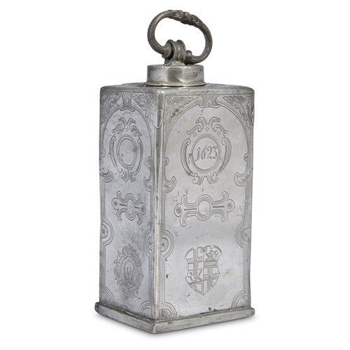 Lot 74 - A NORTHERN EUROPEAN CHASED AND ENGRAVED PEWTER COOLER