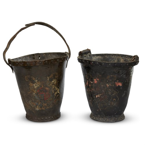 Lot 39 - A PAIR OF GEORGIAN LEATHER ARMORIAL FIRE BUCKETS