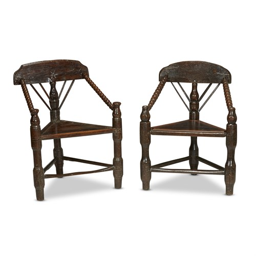 Lot 30 - A NEAR PAIR OF ELIZABETHAN ASH TURNERS CHAIRS