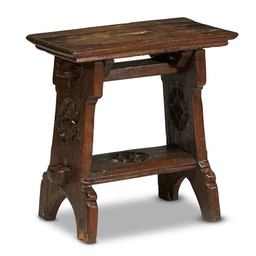 Lot 3 - AN ENGLISH LATE GOTHIC CARVED OAK JOINED STOOL
